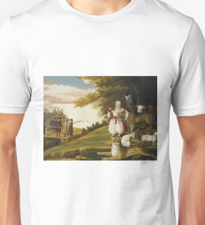 Edward Hicks - A Peaceable Kingdom With Quakers Bearing Banners Unisex T-Shirt