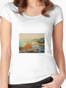 BEST CANADIAN PAINTINGS OF PEGGY'S COVE BY CANADIAN ARTIST CAROLE SPANDAU Women's Fitted Scoop T-Shirt