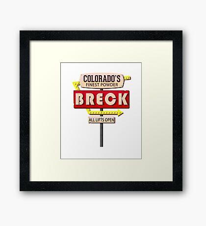 BRECK BRECKENRIDGE COLORADO SKIING SKI MOTEL SIGN Framed Print