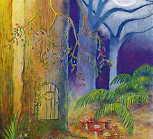 Fairy door and toadstools in enchanted forest by Marion Yeo