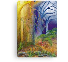 Fantasy art, Fairy door and toadstools in enchanted forest Canvas Print