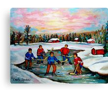 HOCKEY ART OF CANADA PAINTINGS OF POND HOCKEY CAROLE SPANDAU Canvas Print