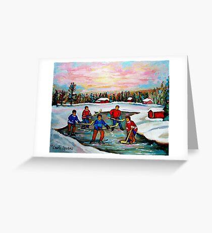HOCKEY ART OF CANADA PAINTINGS OF POND HOCKEY CAROLE SPANDAU Greeting Card