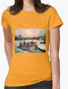 HOCKEY ART OF CANADA PAINTINGS OF POND HOCKEY CAROLE SPANDAU Womens Fitted T-Shirt