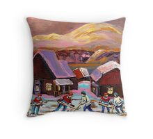 POND HOCKEY IN CANADIAN WINTER SCENE HOCKEY ART PAINTING CAROLE SPANDAU Throw Pillow