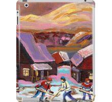 POND HOCKEY IN CANADIAN WINTER SCENE HOCKEY ART PAINTING CAROLE SPANDAU iPad Case/Skin