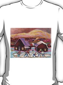 POND HOCKEY IN CANADIAN WINTER SCENE HOCKEY ART PAINTING CAROLE SPANDAU T-Shirt