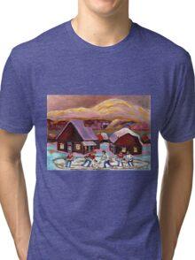 POND HOCKEY IN CANADIAN WINTER SCENE HOCKEY ART PAINTING CAROLE SPANDAU Tri-blend T-Shirt