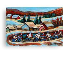 CANADIAN WINTER SCENES POND HOCKEY PAINTINGS COUNTRY SCENES CAROLE SPANDAU Canvas Print