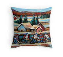 CANADIAN WINTER SCENES POND HOCKEY PAINTINGS COUNTRY SCENES CAROLE SPANDAU Throw Pillow