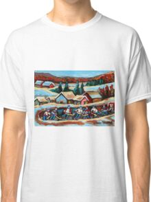 CANADIAN WINTER SCENES POND HOCKEY PAINTINGS COUNTRY SCENES CAROLE SPANDAU Classic T-Shirt