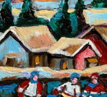 CANADIAN WINTER SCENES POND HOCKEY PAINTINGS COUNTRY SCENES CAROLE SPANDAU Sticker