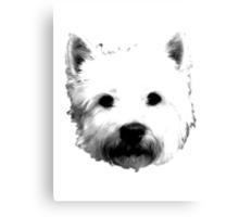West Highland White Terrier Westie Digital Engraving Canvas Print