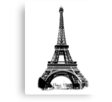 Eiffel Tower Digital Engraving Canvas Print
