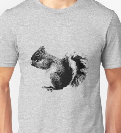 Squirrel Eating Acorns. Wildlife Digital Engraving Image Unisex T-Shirt
