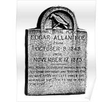 Edgar Allan Poe Tombstone. Creepy Halloween Digital Engraving Image Poster