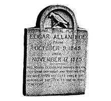 Edgar Allan Poe Tombstone. Creepy Halloween Digital Engraving Image Photographic Print