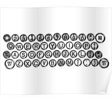 Vintage and Antique Typewriter Keys Poster