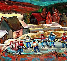CANADIAN LANDSCAPE ART POND HOCKEY SCENES WINTER COUNTRY LIFE CAROLE SPANDAU by Carole  Spandau