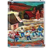 CANADIAN LANDSCAPE ART POND HOCKEY SCENES WINTER COUNTRY LIFE CAROLE SPANDAU iPad Case/Skin