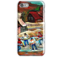 CANADIAN LANDSCAPE ART POND HOCKEY SCENES WINTER COUNTRY LIFE CAROLE SPANDAU iPhone Case/Skin