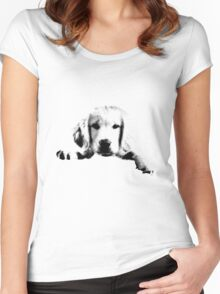 Golden Retriever Puppy Dog Engraving Women's Fitted Scoop T-Shirt