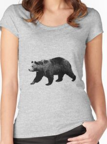 Bear Walking in the Woods. Digital Engraving Women's Fitted Scoop T-Shirt