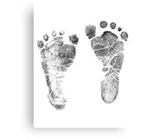 Baby Footprints. Adorable Baby Feet Perfect For New Baby Boy or Baby Girl Canvas Print