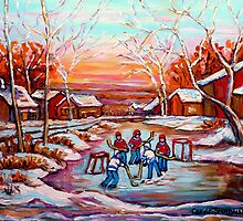 ARTISTS OF CANADA PAINT CANADIAN POND HOCKEY SCENES CAROLE SPANDAU by Carole  Spandau