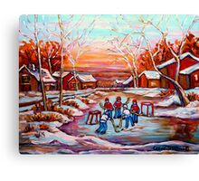 ARTISTS OF CANADA PAINT CANADIAN POND HOCKEY SCENES CAROLE SPANDAU Canvas Print