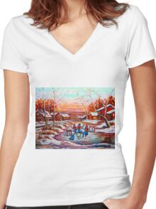 ARTISTS OF CANADA PAINT CANADIAN POND HOCKEY SCENES CAROLE SPANDAU Women's Fitted V-Neck T-Shirt