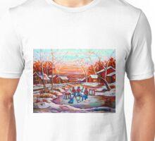 ARTISTS OF CANADA PAINT CANADIAN POND HOCKEY SCENES CAROLE SPANDAU Unisex T-Shirt