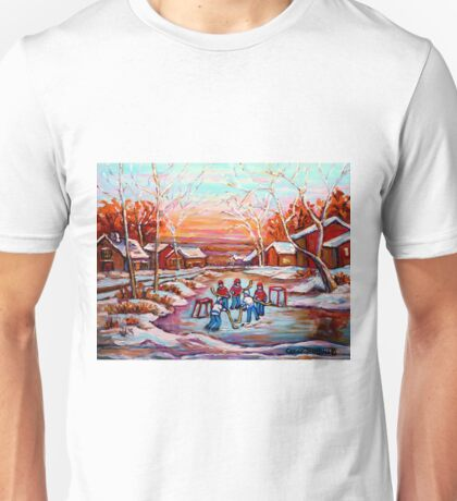 ARTISTS OF CANADA PAINT CANADIAN POND HOCKEY SCENES CAROLE SPANDAU Unisex T-Shirt