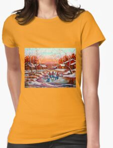 ARTISTS OF CANADA PAINT CANADIAN POND HOCKEY SCENES CAROLE SPANDAU Womens Fitted T-Shirt