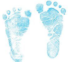 Blue Baby Footprints. Adorable Baby Feet Perfect For New Baby Boy by digitaleclectic