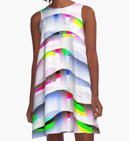 Collage with Curved Lines A-Line Dress