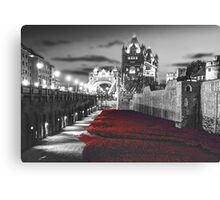 Tower Bridge and the Ceramic Poppies BW Canvas Print