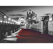 Tower Bridge and the Ceramic Poppies BW Photographic Print