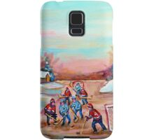 PAINTINGS OF CANADA DEPICTING COUNTRYSIDE POND HOCKEY ART PAINTINGS CAROLE SPANDAU Samsung Galaxy Case/Skin
