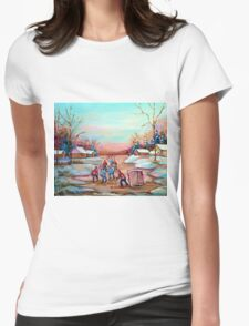 PAINTINGS OF CANADA DEPICTING COUNTRYSIDE POND HOCKEY ART PAINTINGS CAROLE SPANDAU Womens Fitted T-Shirt
