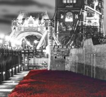 Tower Bridge and the Ceramic Poppies BW Sticker