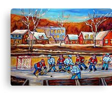 CANADIAN SCENERY POND HOCKEY ART PAINTINGS OF CANADA CAROLE SPANDAU Canvas Print