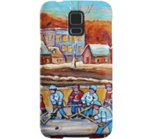 CANADIAN SCENERY POND HOCKEY ART PAINTINGS OF CANADA CAROLE SPANDAU Samsung Galaxy Case/Skin