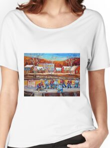CANADIAN SCENERY POND HOCKEY ART PAINTINGS OF CANADA CAROLE SPANDAU Women's Relaxed Fit T-Shirt