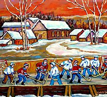FAMOUS CANADIAN PAINTINGS FOR SALE PONDD HOCKEY IN THE COUNTRY CAROLE SPANDAU by Carole  Spandau