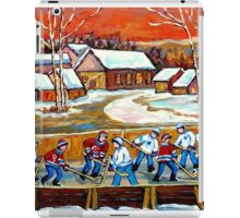 FAMOUS CANADIAN PAINTINGS FOR SALE PONDD HOCKEY IN THE COUNTRY CAROLE SPANDAU iPad Case/Skin