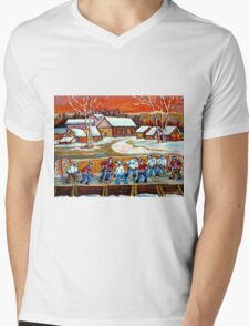 FAMOUS CANADIAN PAINTINGS FOR SALE PONDD HOCKEY IN THE COUNTRY CAROLE SPANDAU Mens V-Neck T-Shirt