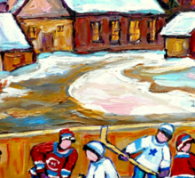 FAMOUS CANADIAN PAINTINGS FOR SALE PONDD HOCKEY IN THE COUNTRY CAROLE SPANDAU Sticker