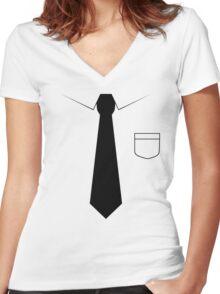 Black tie Women's Fitted V-Neck T-Shirt