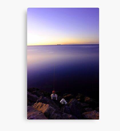 Fishing At Dusk Canvas Print